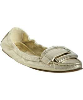 Christian Dior gold metallic leather buckle detail flats