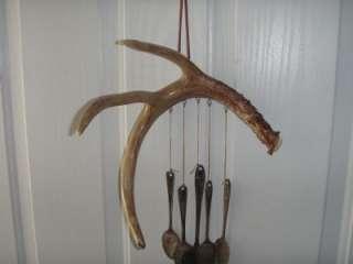 DEER ANTLER WINDCHIME CARVED BEAR, DEER, & WOLF TRACKS CARVING FREE