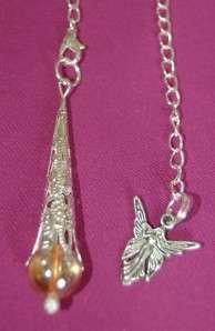 Sunshine Titanium or Aqua Aura Crystal Pendulum & Angel