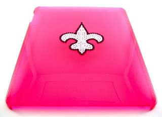 Apple iPad Pink Case Silver Crystal Saints Fleur De Lis