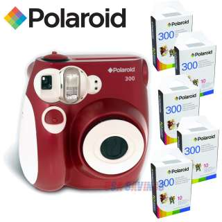 POLAROID INSTANT CAMERA PIC 300 RED and 50 FILM (Five (5) Packs