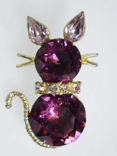 Amethyst Purple Glass & Rhinestone Kitty CAT Pin Brooch 1 3/4
