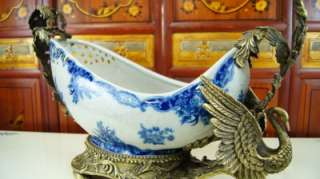 Blue & White Porcelain Table Pot Bowl Planter With Solid Brass Swan