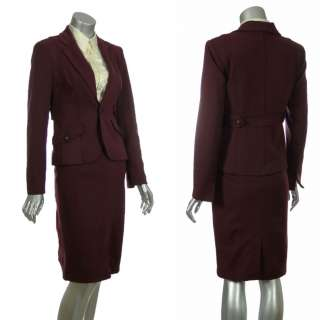 Sutton Studio Womens Wool Blend Ponte Skirt & Blazer Suit Set