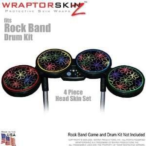 Kearas Flowers on Black Skin by WraptorSkinz fits Rock Band Drum Set
