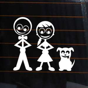 FAMILY STICK FIGURES DAD MOM DOG Vinyl Decal 4.5x4 car sticker