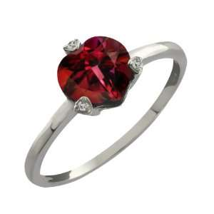Ct Heart Shape Crimson Red Mystic Topaz and Topaz Sterling Silver Ring