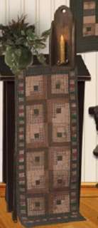 QUILTED LOG CABIN PATTERN TEA DYED QUILT TABLE RUNNER