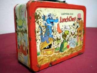 CARTOON ZOO LUNCH CHEST LUNCH BOX, 1963 FAIR CONDITION RARE