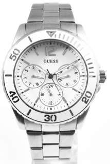 New GUESS Ladies Analog Watch White Dial Silver Tone Bracelet