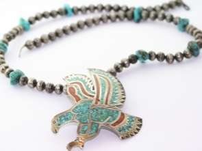 Zuni Native American Sterling Turquoise Eagle Necklace