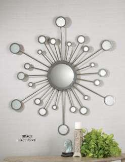 Raindrops Modern Silver Starburst Wall Mirror
